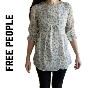 Free People prairie style floral lined top size 2